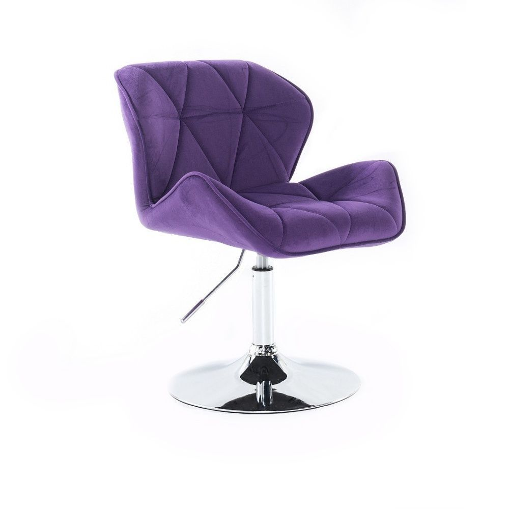Kosmetická židle MILANO VELUR na stříbrném talíři - fialová
