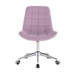 Kosmetická židle PARIS VELUR na stříbrné základně s koly - fialový vřes