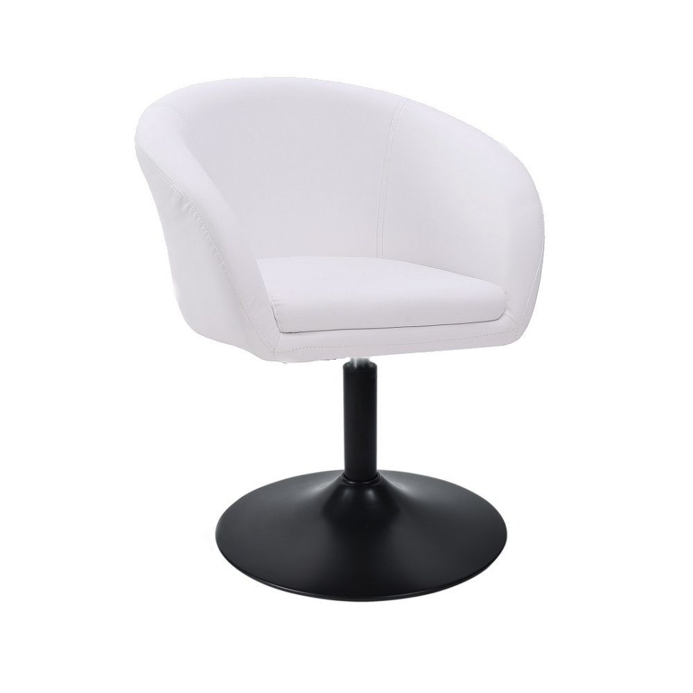 Kosmetická židle VENICE na černé kulaté podstavě - bílá