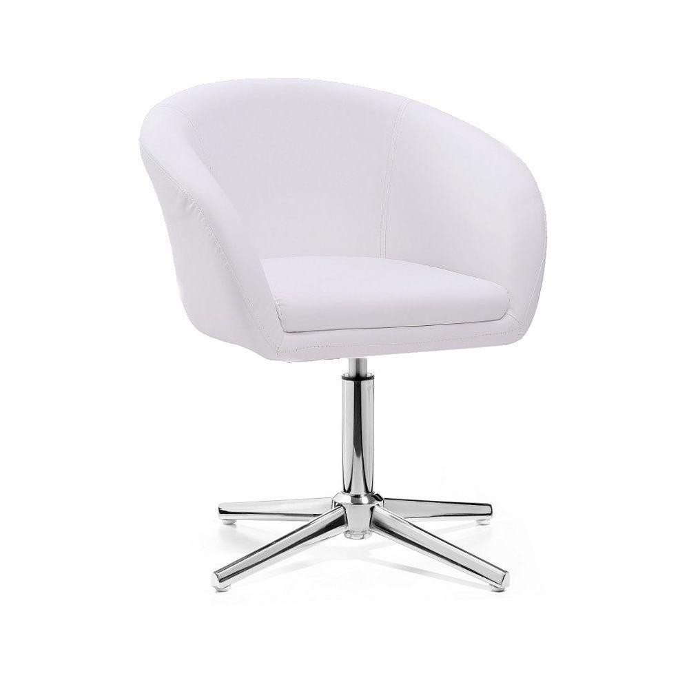 Kosmetická židle VENICE na stříbrném kříži - bílá