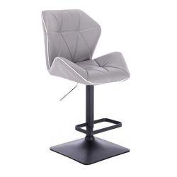 Barová židle MILANO MAX na černé podstavě - světle šedá