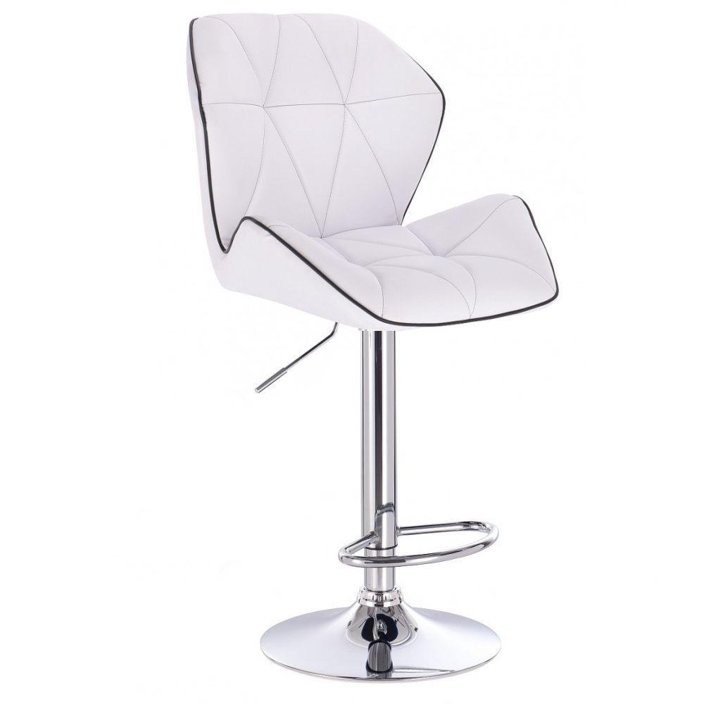 Barová židle MILANO MAX na stříbrném talíři - bílá