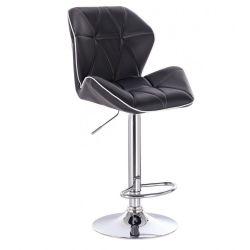 Barová židle MILANO MAX na stříbrném talíři - černá