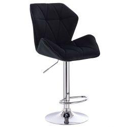 Barová židle MILANO MAX VELUR na stříbrném talíři - černá