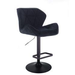Barová židle MILANO VELUR na černém talíři  - černá