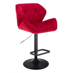Barová židle MILANO VELUR na černém talíři  - červená