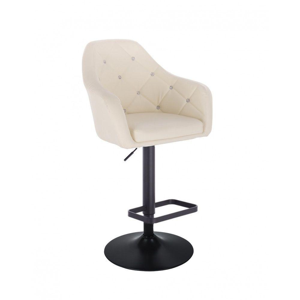 Barová židle ROMA na černém talíři - krémová