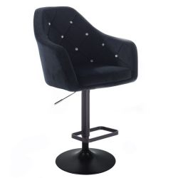 Barová židle ROMA VELUR na černém talíři - černá