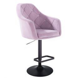 Barová židle ROMA VELUR na černém talíři - fialový vřes