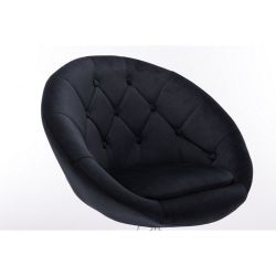 Kosmetické křeslo VERA VELUR na stříbrné podstavě s kolečky - černá