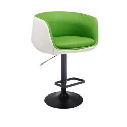 Barová židle MONTANA na černém talíři - bílo-zelená