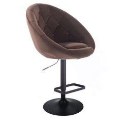 Barová židle VERA VELUR na černém talíři - hnědá