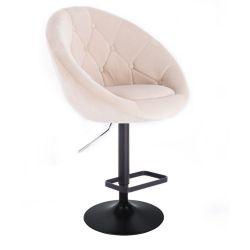 Barová židle VERA VELUR na černém talíři - krémová