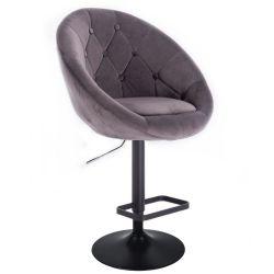 Barová židle VERA VELUR na černém talíři - šedá