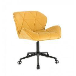 Kosmetická židle MILANO VELUR na černé podstavě s kolečky - žlutá