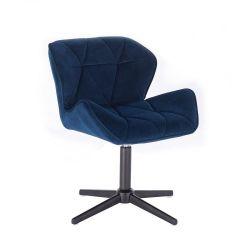Kosmetická židle MILANO VELUR na černém kříži - modrá