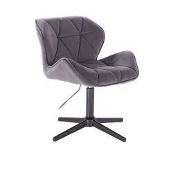 Kosmetická židle MILANO VELUR na černém kříži - tmavě šedá
