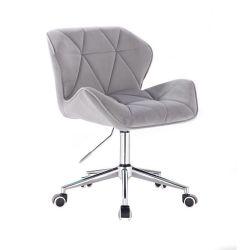 Kosmetická židle MILANO VELUR na stříbrné podstavě s kolečky - světle šedá