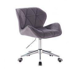 Kosmetická židle MILANO VELUR na stříbrné podstavě s kolečky - tmavě šedá