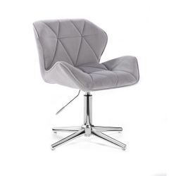 Kosmetická židle MILANO VELUR na stříbrném kříži - světle šedá