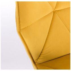 Kosmetická židle MILANO VELUR na stříbrném talíři - žlutá