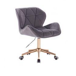 Kosmetická židle MILANO VELUR na zlaté podstavě s kolečky - tmavě šedá