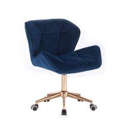 Kosmetická židle MILANO VELUR na zlaté podstavě s kolečky - modrá