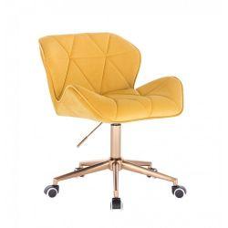 Kosmetická židle MILANO VELUR na zlaté podstavě s kolečky - žlutá