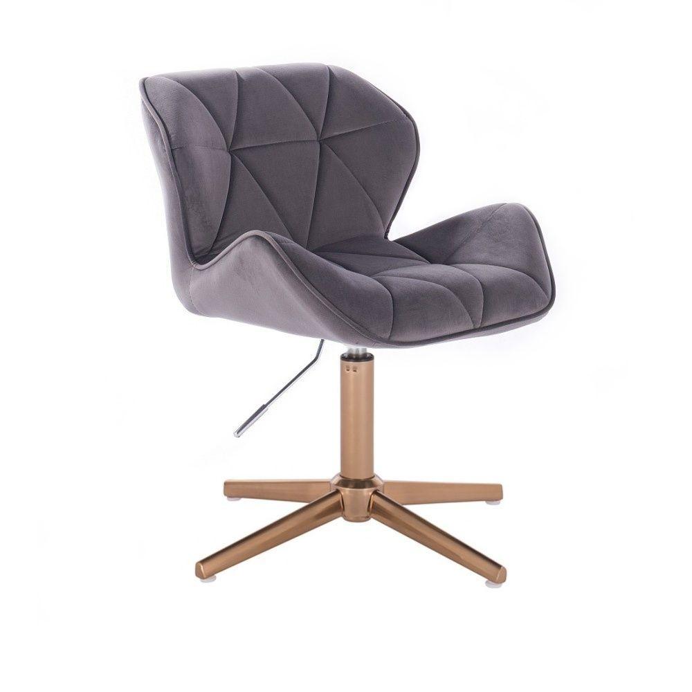 Kosmetická židle MILANO VELUR na zlatém kříži - tmavě šedá
