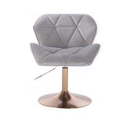 Kosmetická židle MILANO VELUR na zlatém talíři - světle šedá