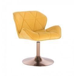 Kosmetická židle MILANO VELUR na zlatém talíři - žlutá