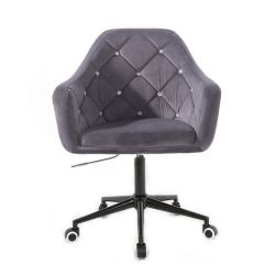 Kosmetické křeslo ROMA VELUR na černé podstavě s kolečky - tmavě šedá