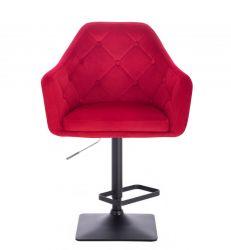 Barová židle ANDORA VELUR  na černé podstavě - červená