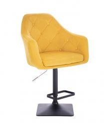 Barová židle ANDORA VELUR  na černé podstavě - žlutá