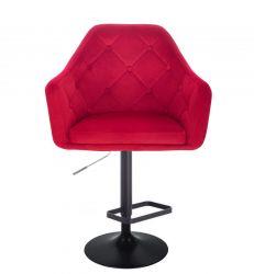 Barová židle ANDORA VELUR  na černém talíři - červená