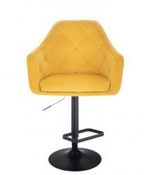 Barová židle ANDORA VELUR  na černém talíři - žlutá