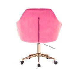 Kosmetické křeslo ANDORA VELUR na zlaté podstavě s kolečky - růžové