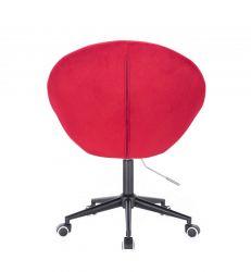 Kosmetické křeslo VERA VELUR na černé podstavě s kolečky - červené
