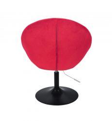 Kosmetické křeslo VERA VELUR na černém talíři - červené