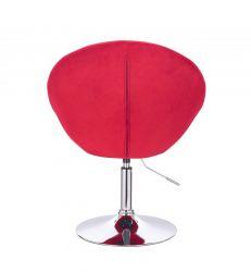 Kosmetické křeslo VERA VELUR na stříbrném talíři - červené
