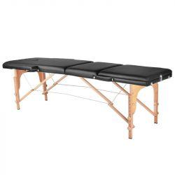 Skládací dřevěný masážní stůl COMFORT 3 SEGMENT - černý