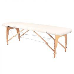 Skládací masážní stůl dřevěný KOMFORT 2 - krémový