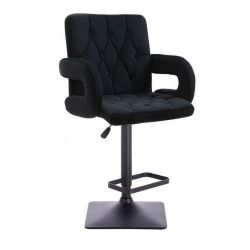 Barová židle BOSTON VELUR na černé podstavě - černá