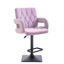 Barová židle BOSTON VELUR na černé podstavě - fialový vřes