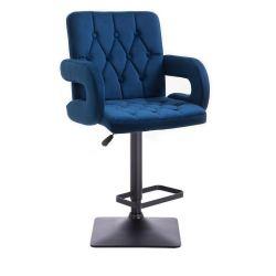 Barová židle  BOSTON VELUR na černé podstavě - modrá