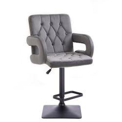 Barová židle BOSTON VELUR na černé podstavě - šedá