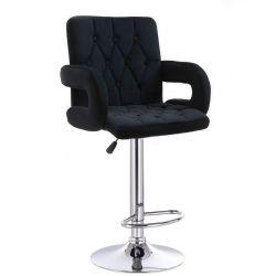 Barová židle  BOSTON VELUR na stříbrném talíři - černá