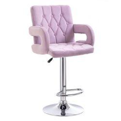 Barová židle  BOSTON VELUR na stříbrném talíři - fialový vřes
