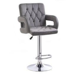 Barová židle  BOSTON VELUR na stříbrném talíři - šedá