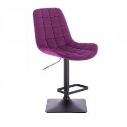 Barová židle PARIS VELUR na černé podstavě - fuchsie